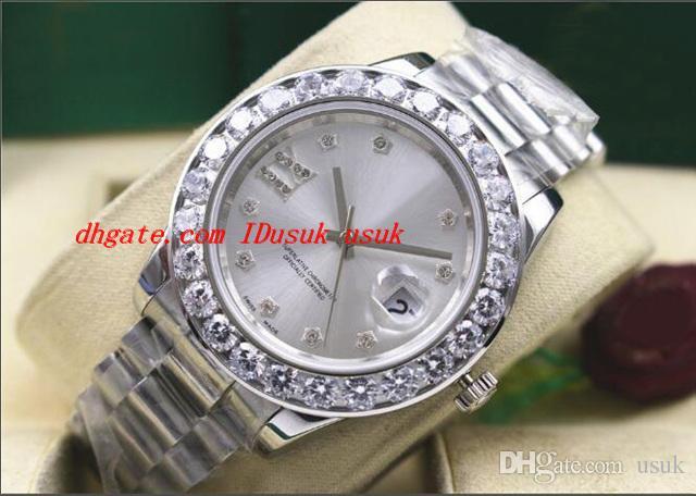 Orologio da polso di lusso di alta qualità orologio in oro bianco 18 carati con diamante in oro bianco più grande / lunetta da uomo orologio da uomo 41mm movimento meccanico automatico orologio da uomo