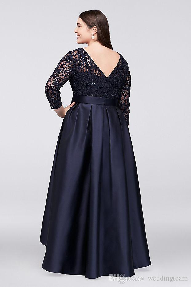 Black Plus Size High Low Formal Dresses With Half Sleeves Sheer Jewel Neck Lace Evening Gowns A Line Cheap Short Prom Dress Plus Size Summer Clothes