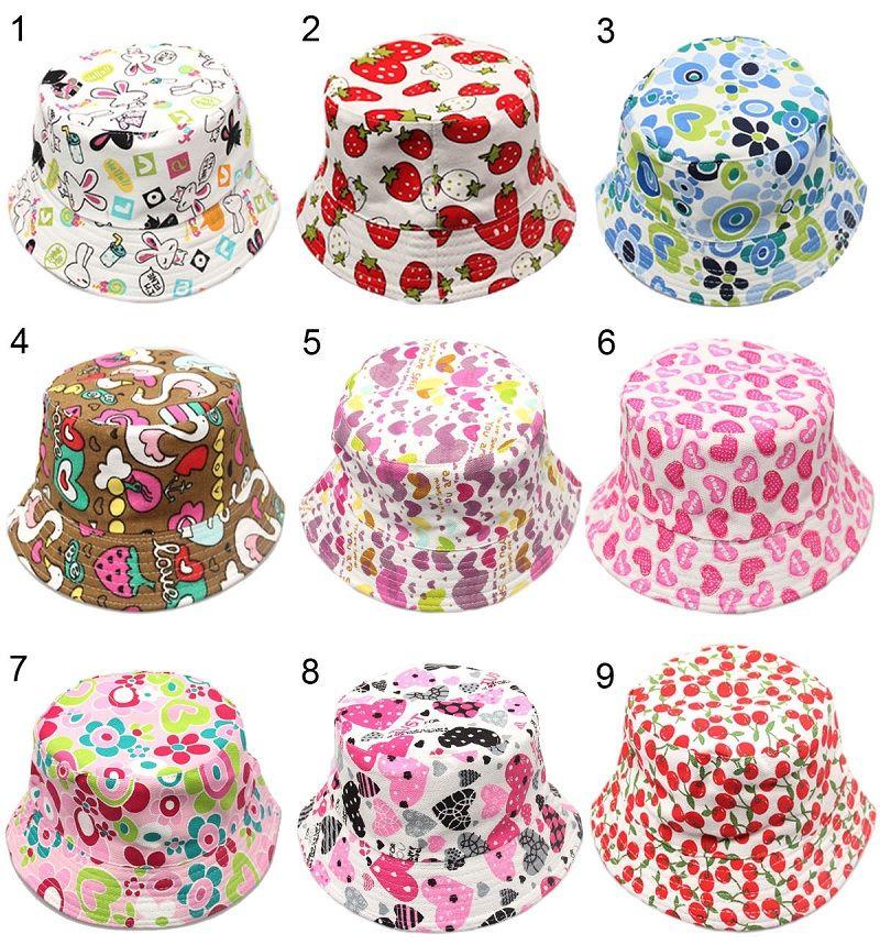 30 Stilleri Çocuk Kova Şapka Gilligan Çocuklar Cimri Brim Şapka Çiçek Baskı Balıkçı Plaj Güneşlik Satış Katlanır Bowler Caps