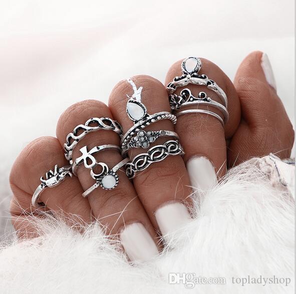 10PCS = 1SET Retro anillo de afluencia de personas nudo anillo bohemio nacional viento pequeño elefante gema manos whoelsale envío gratis