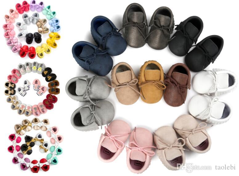 150 colors New Baby First Walker Shoes moccs Baby moccasins soft sole moccasin leather Colorful Bow Tassel booties toddlers shoes