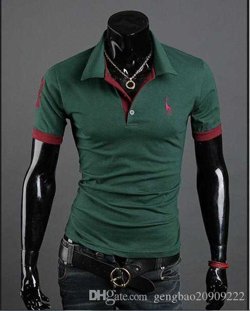 2017 Sonbahar Yeni Polo Gömlek Erkekler için Fawn Nakış Lüks Rahat Slim Fit ile Şık T Gömlek kısa Kollu 6 Renkler 4 Boyutu
