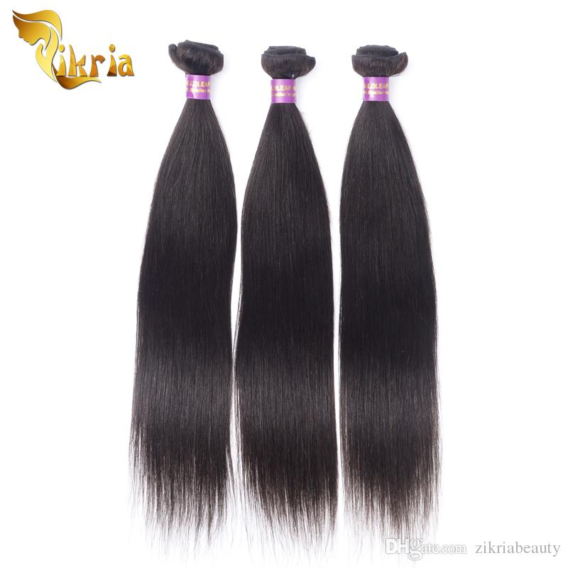 Fasci di tessuto brasiliano malese peruviano indiano dei capelli di Remy capelli diritti 100% dei capelli umani di colore naturale nero a 8-30 pollici