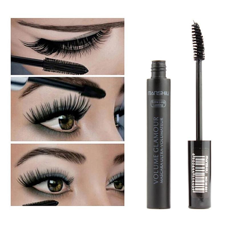 Frauen Schwarz 3D Faser Mascara Volome Curl Dicke Wasserdichte Wimpern Verlängerung Marke Make-Up Maquillage CU5