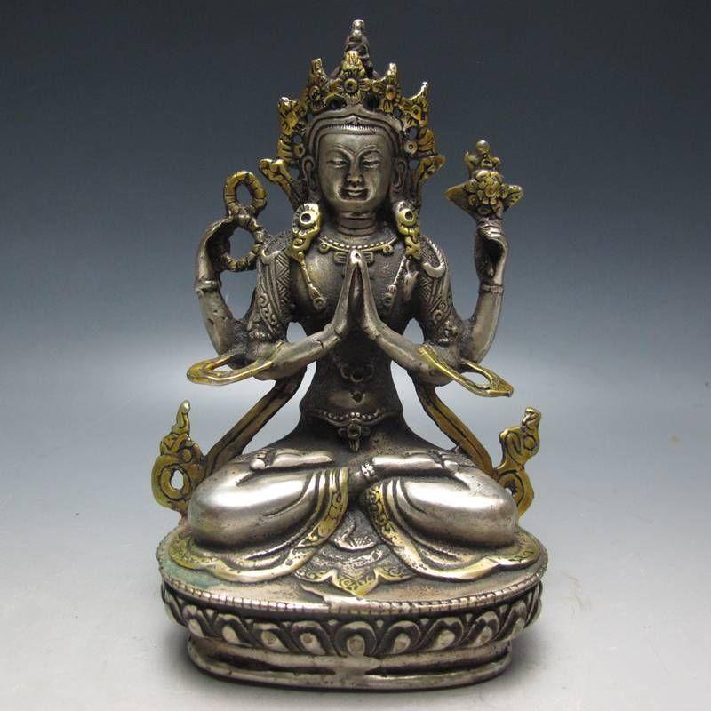 티베트 불교의 부처님의 티베트은 구리 금 도금 동상
