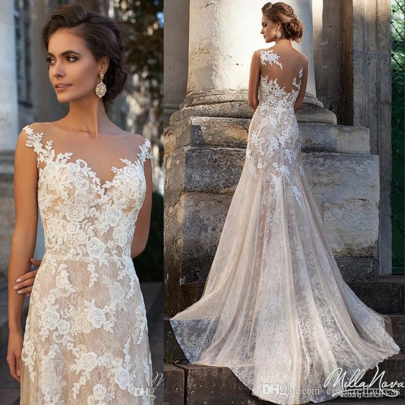 2017 Glamorous Milla Nova Vena Wedding Dresses Long Full Lace A Line With Sheer Scoop Neck Court Train Elegant Appliques Church Bridal Gowns 2018 From