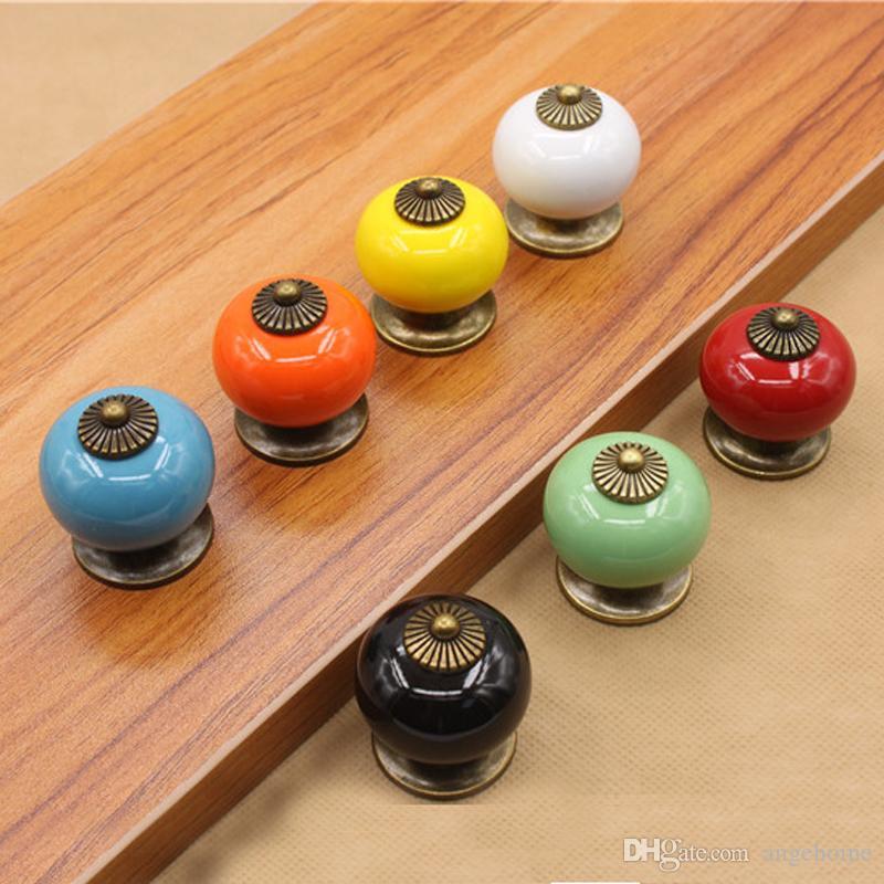 Vintage Furniture Handle Ceramic Knobs and Handles Door Handle Cupboard Drawer Kitchen Pull Handles Furniture Hardware 7 Color