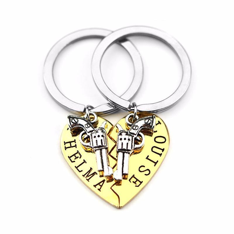 2 قطع thelma لويز المفاتيح كيرينغ البنادق القلب الصداقة مغامرة الحرية أفضل أصدقاء للأبد bff مفتاح سلسلة تذكار هدية
