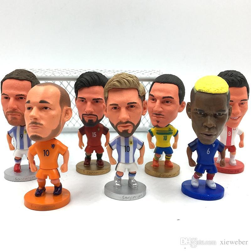 Soccerwe New Soccer & Basketball Doll Messi Martial Mbappe Kane De Bruyne Aguero Zlantan Klopp Figures 6.5cm Height Figures Choices