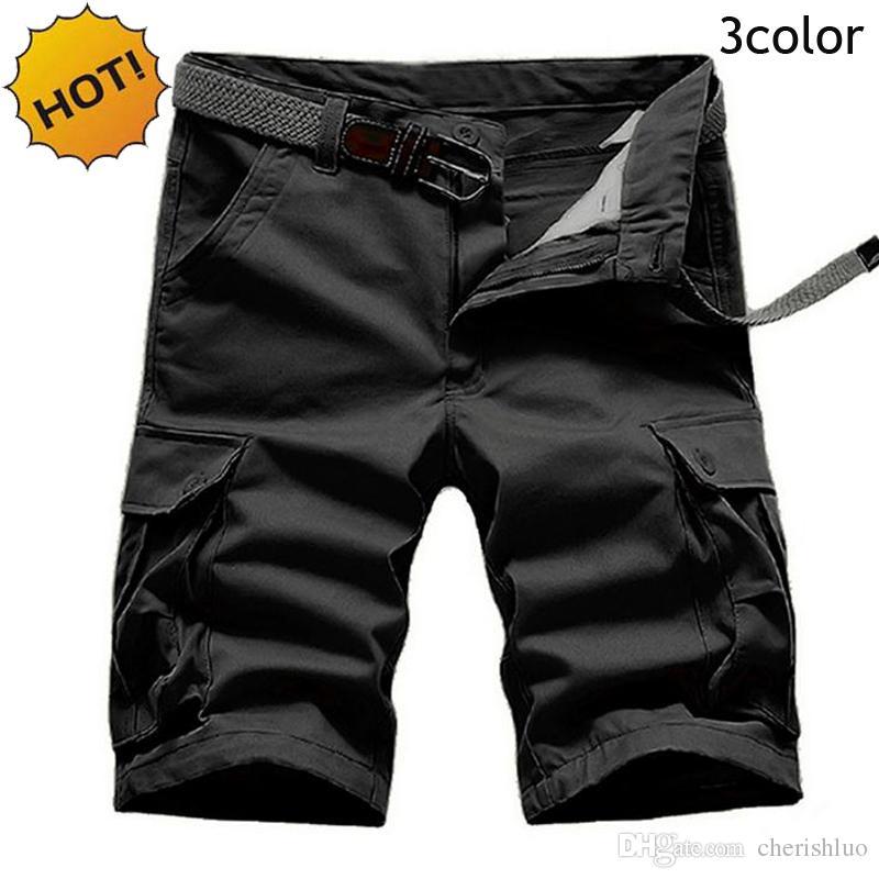 Estilo de verano de alta calidad sólido hasta la rodilla de algodón rectos ejército baggy multi-bolsillo Cargo Shorts hombres más el tamaño 28-40 5 color