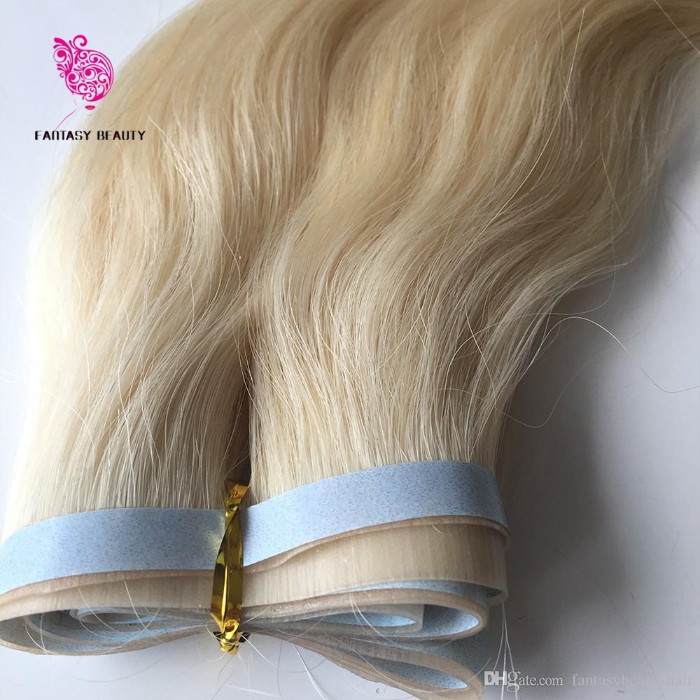 Uncut 100g 18inches bis 30 incehs # 613 Gerade peruanischen remy PU Band Skin Weft Klebeband in Haar-Verlängerungen IN STOCK