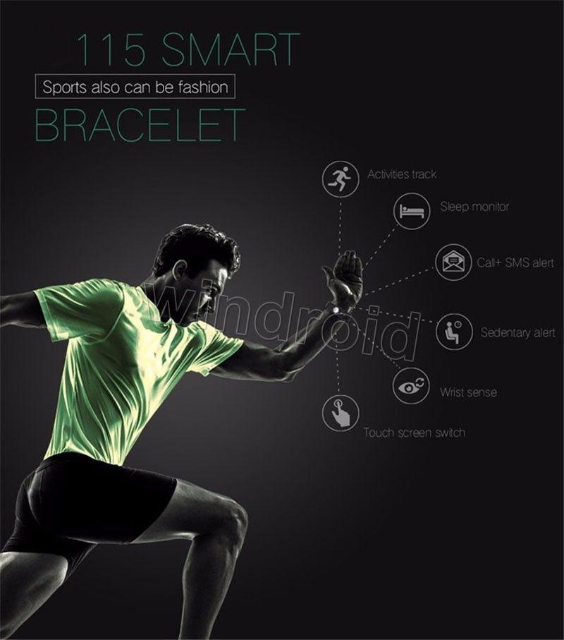 Para Pulsera Banda SmartBand S115 Women HR Fitness SmartWatch Deportes Smart DHL Bluetooth Tracker Sports 115 Men 5 Pulseras Gratis por Colo CGEX