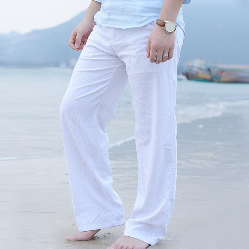 Toptan-erkek Yaz Rahat Pantolon Doğal Pamuk Keten Pantolon Beyaz Keten Elastik Bel Düz Pantolon