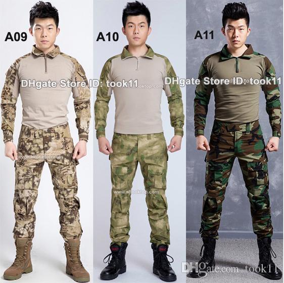 Wholesale army camouflage suit german military uniform multicam camo combat shirt + tactical pants kryptek paintball equipment black