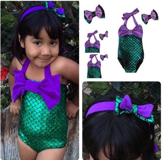 HOT Lovely Girl Kids Swimmable Mermaid Tail Swimwear Children Bikini Bathing Suit Swimsuit Beach Wear Baby Swimming Costume headband