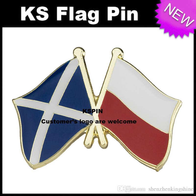Escócia Polónia Amizade Bandeira Emblema Bandeira Pin 10 pcs muito Frete grátis XY0088