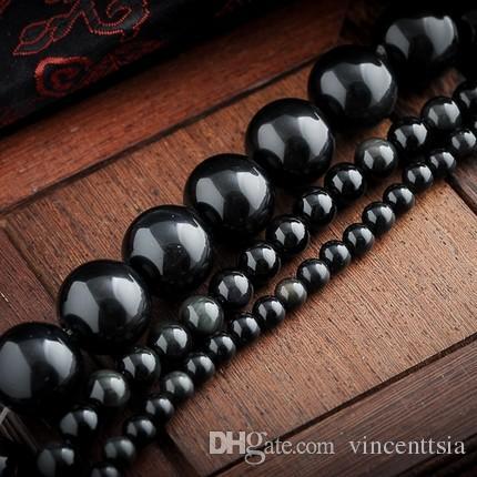 schwarze Onyx Naturstein Schmuck Erkenntnisse glatte lose Perlen DIY Kit Halskette Ohrring Männer Armband Strang Großhandel