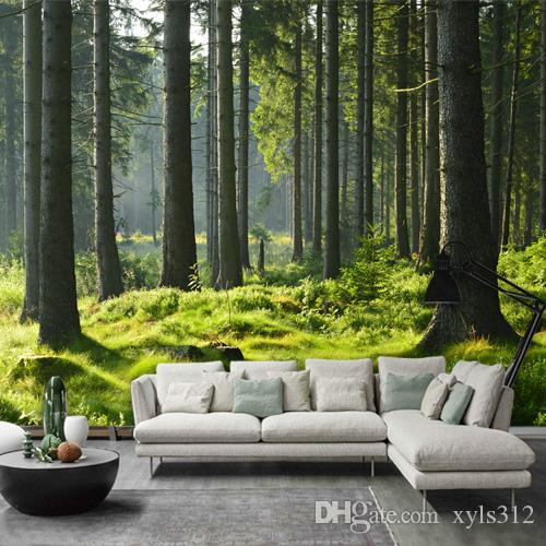 3d Tree Green Forest Leaves Science Fiction Wallpaper Large Fresco Casual Cafe Restaurant Living Room Background Cool Wallpapers Custom