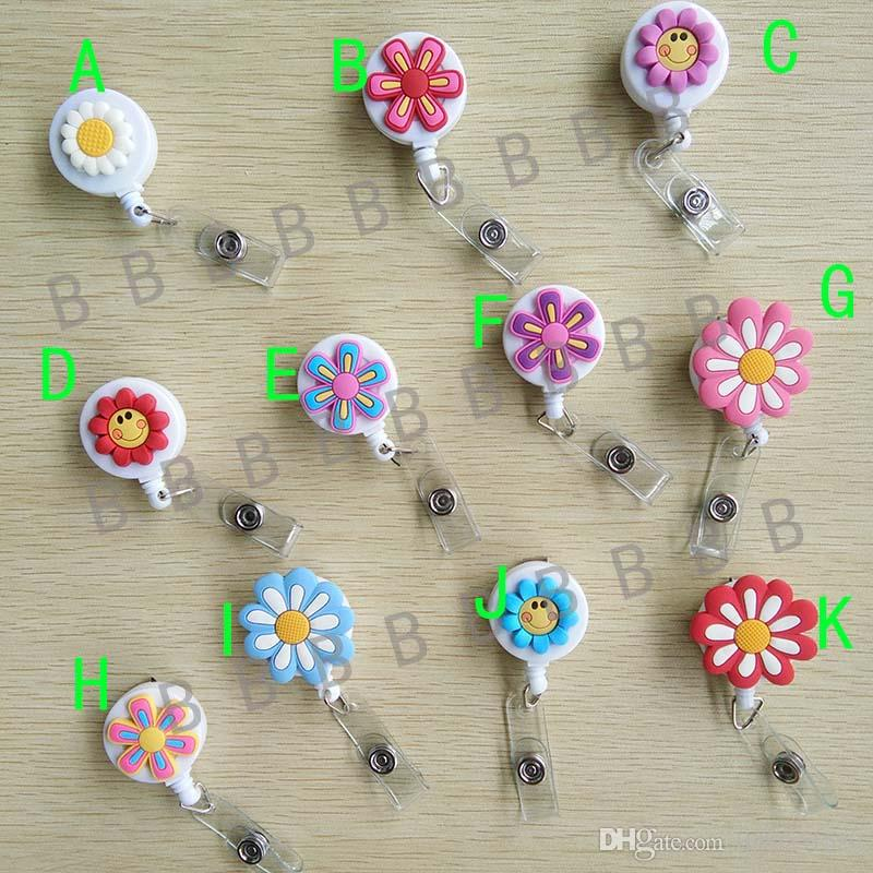 11pcs Flower Design Cute Retractable Badge Reel Student Nurse Exihibiton ID Name Card Badge Holder Office