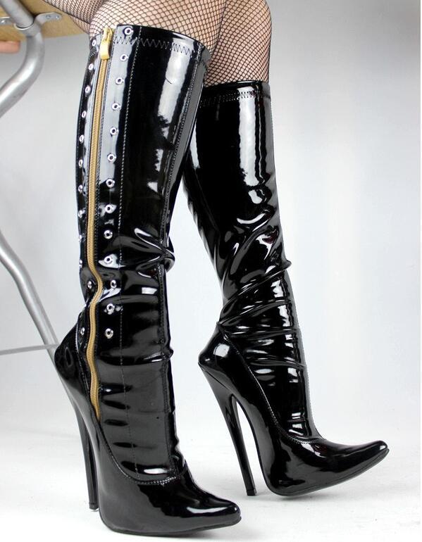 Ladies Fetish 01 Red Patent 4 inch Stiletto Heel Thigh High Zip Boots UK 3 4 5