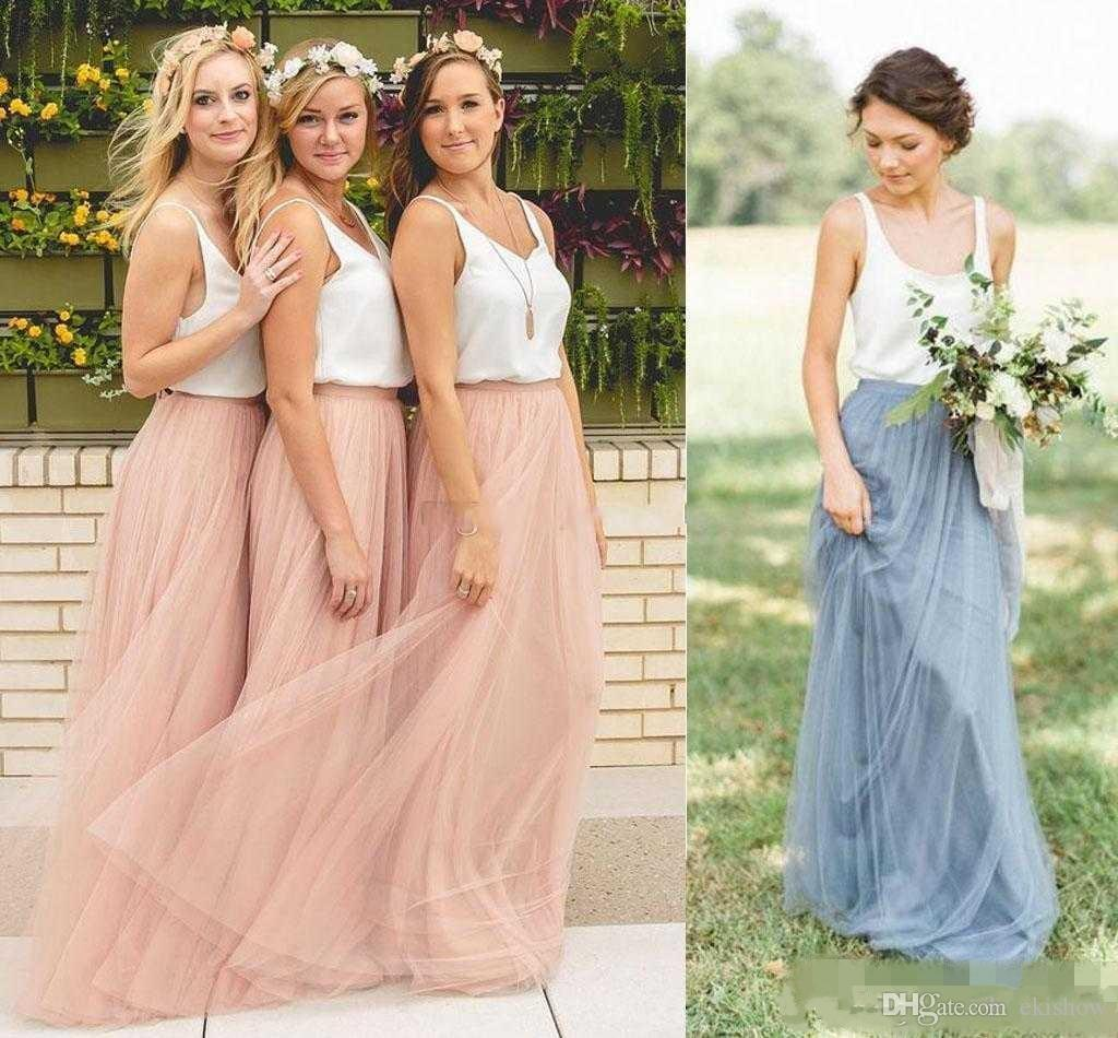 Two Piece Country Style Cheap Summer Boho Bridesmaid Dresses Beach Sleeveless V-neck Blush Tutu Tulle Skirt Long Maid of the Honor Dresses
