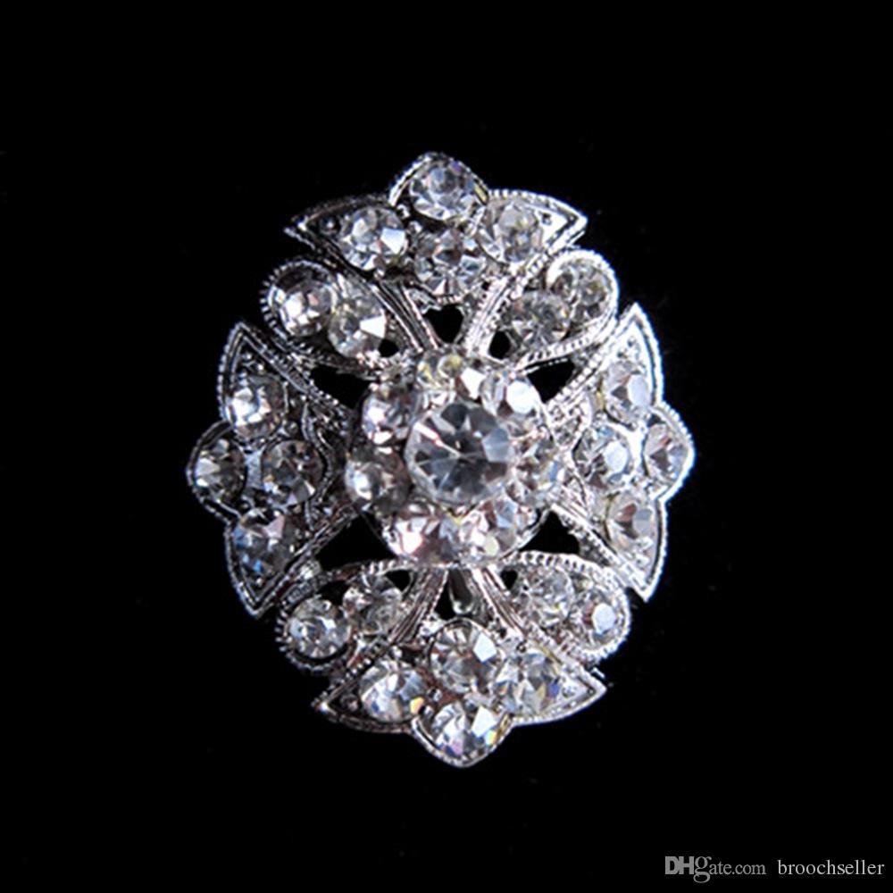 Plata plateada cristal clara pequeña flor broche Pin para invitación de boda