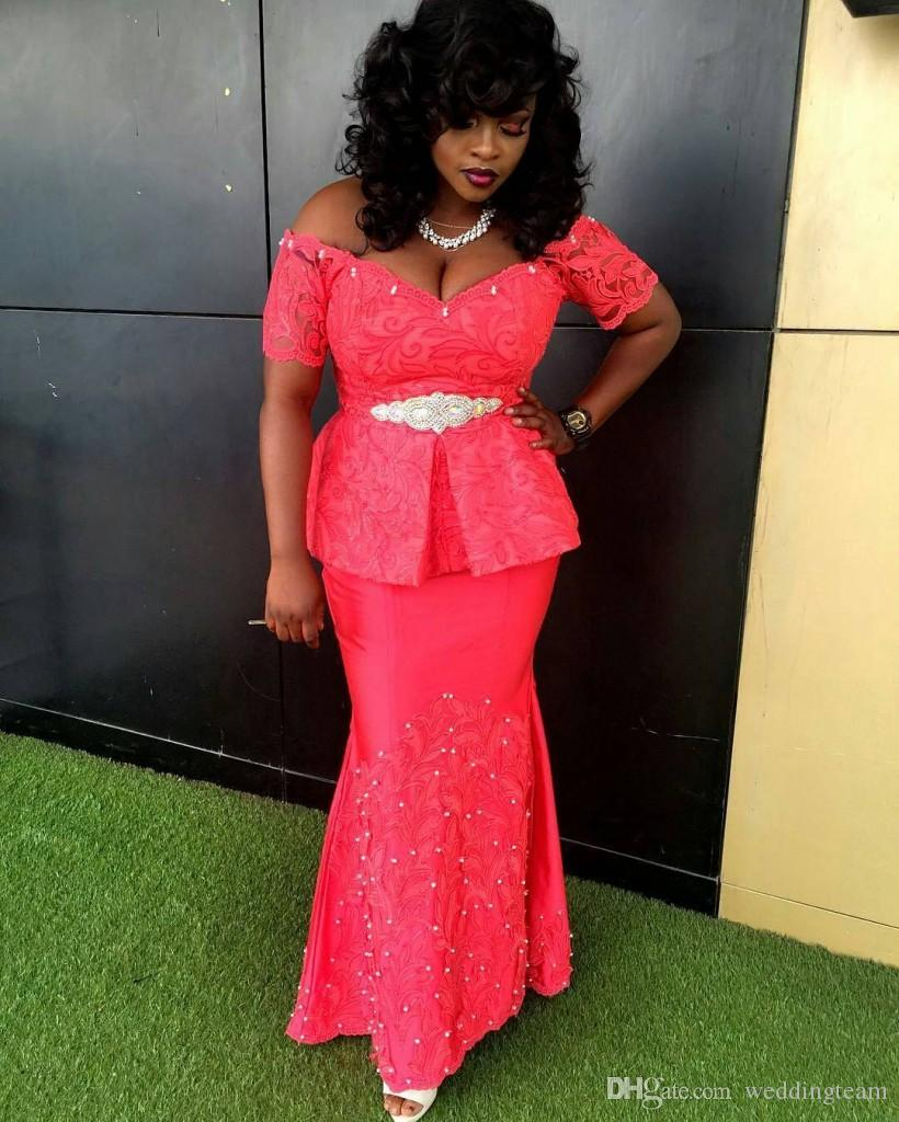 African Lace Plus Size Prom Dresses With Short Sleeves V Neck Peplum  Evening Gowns Cheap Floor Length Satin Beaded Formal Dress Occasions  Dresses Plus ...