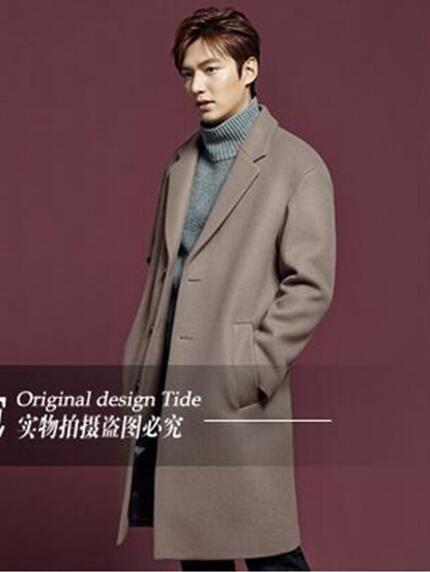 Avrupa ve Amerikan moda sıcak tarzı ince han baskı erkek kış uzun yüksek dereceli rüzgarlık yün ceket / S-3XL