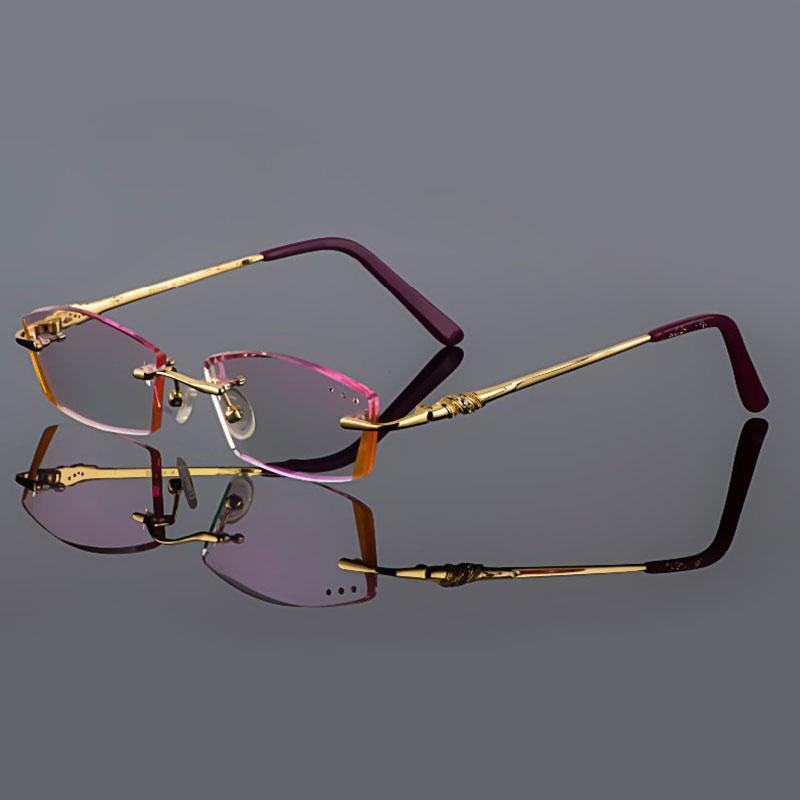 обрезки титана очки женские модели кристалл алмаза подрезки золото очки без оправы готовые очки по рецепту