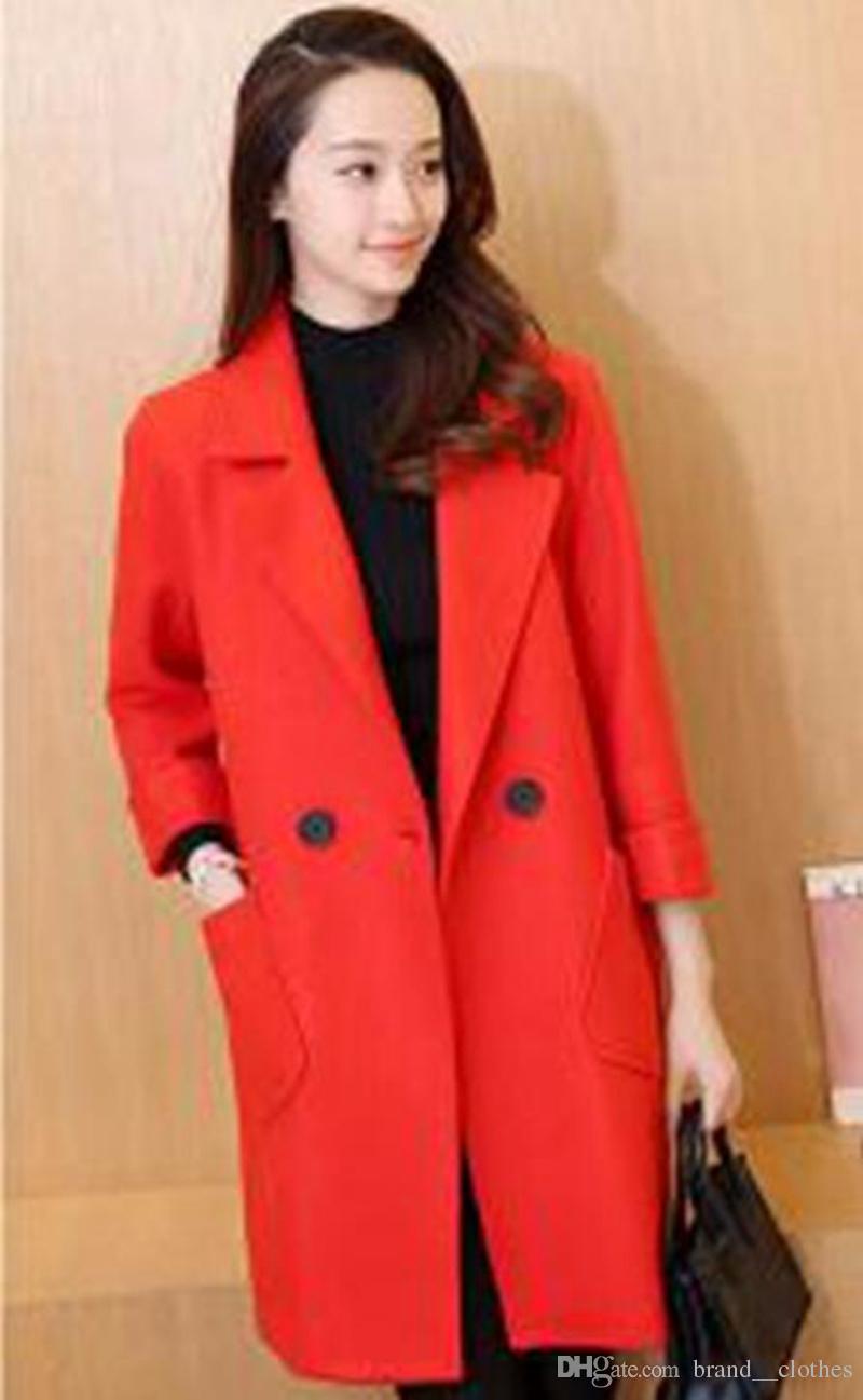 qiu 동 한 판 레저 패션 디자인 쇼 얇은 긴 캐시미어 천으로 트렌치 코트 / 5432 S - XL의 여성 기질 있음