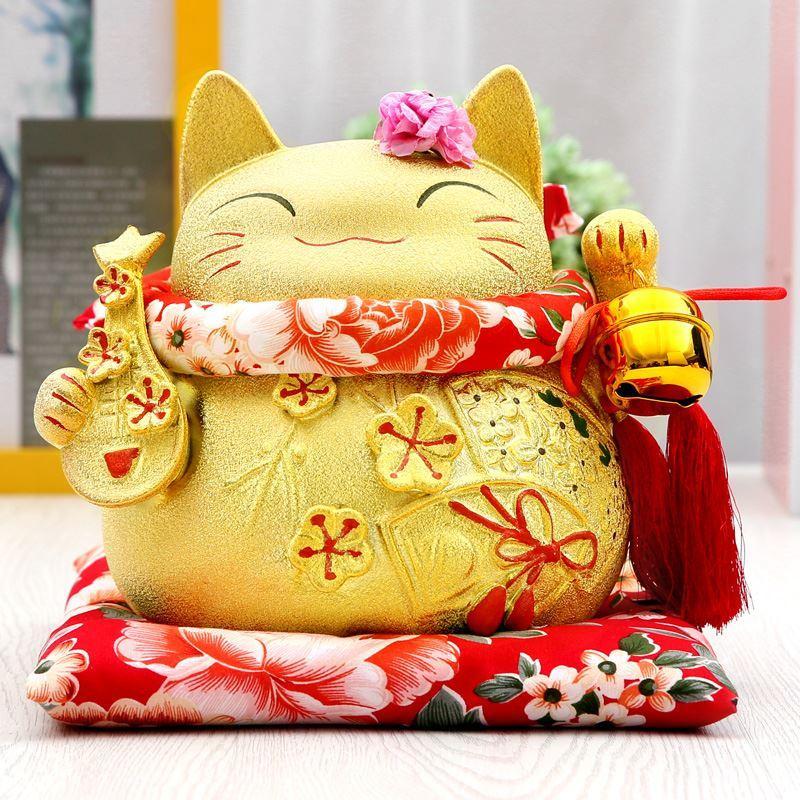 Oro Gatto Fortunato aperto autentici ornamenti in oro bianco ornamenti di porcellana Pipa ornamenti di grandi dimensioni