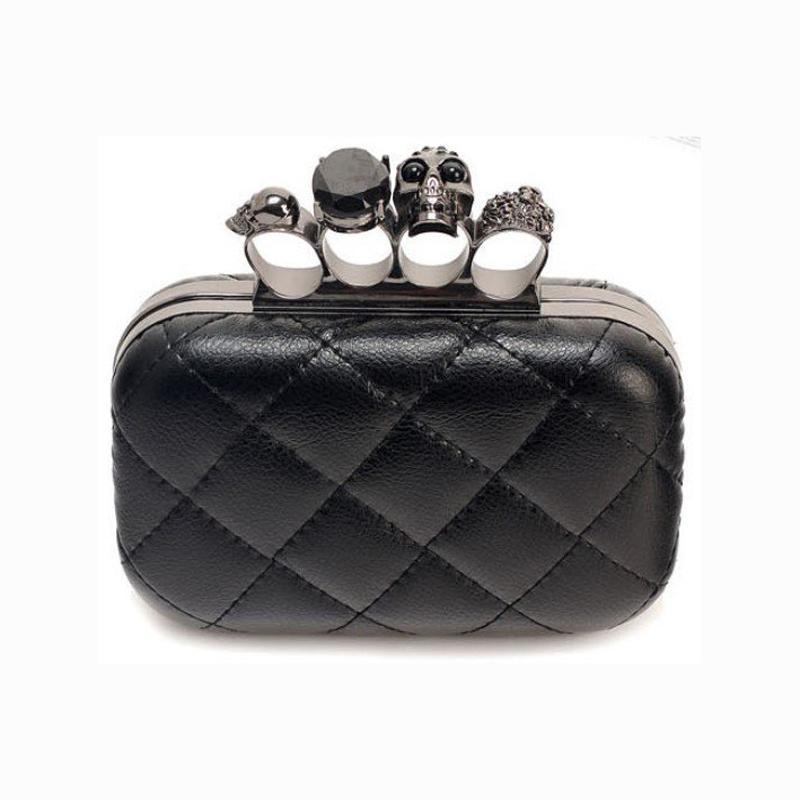 Wholesale-Fashion Frau Leder Abendclutch Handtaschen Creepy Schädel-Ring-Hand Halloween-Party-Kette Schultertasche Plaid Geldbeutel XA219H