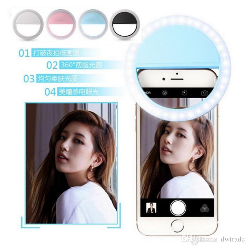 Bague LED Selfie Light Eclairage supplémentaire Night Darkness Selfie Enhancing pour la photographie pour iphone7 Samsung note7 avec câble de charge