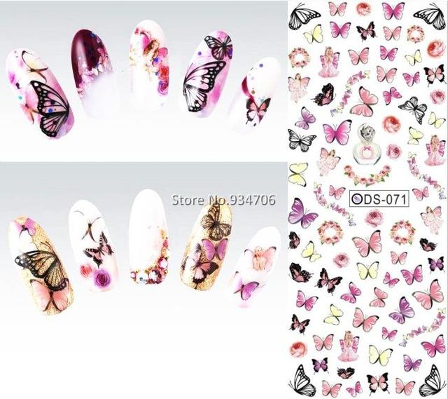 Venta al por mayor-DS071 2015 Diseño de uñas Transferencia de agua Nails Art Sticker Colorful Butterfly Nail Wraps Etiqueta Watermark Uñas calcomanías
