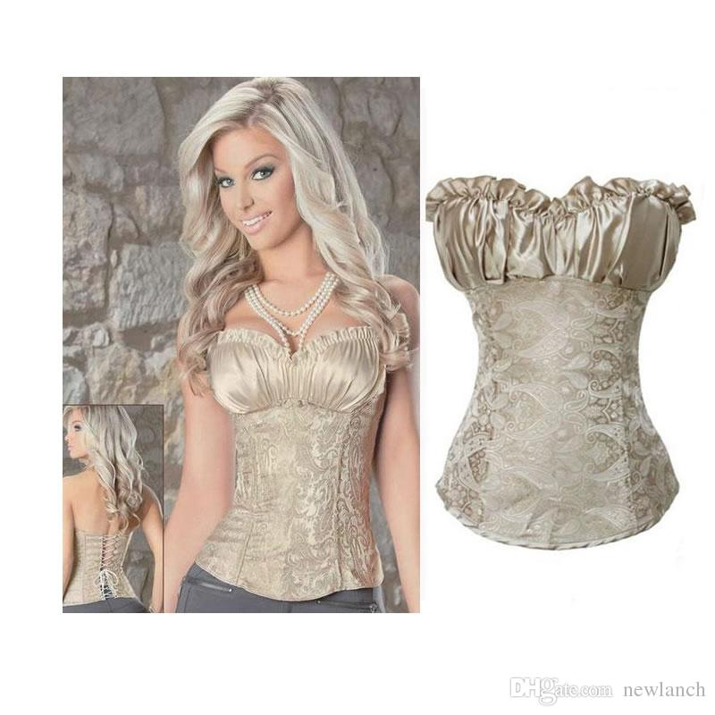 attractivefashion a few days away cheaper sale 2019 Womens Corsets Royal Vest Bustier Cream Ivory Color Pattern Body  Shapers Lace Up Corset Top From Newlanch, &Price; | DHgate.Com