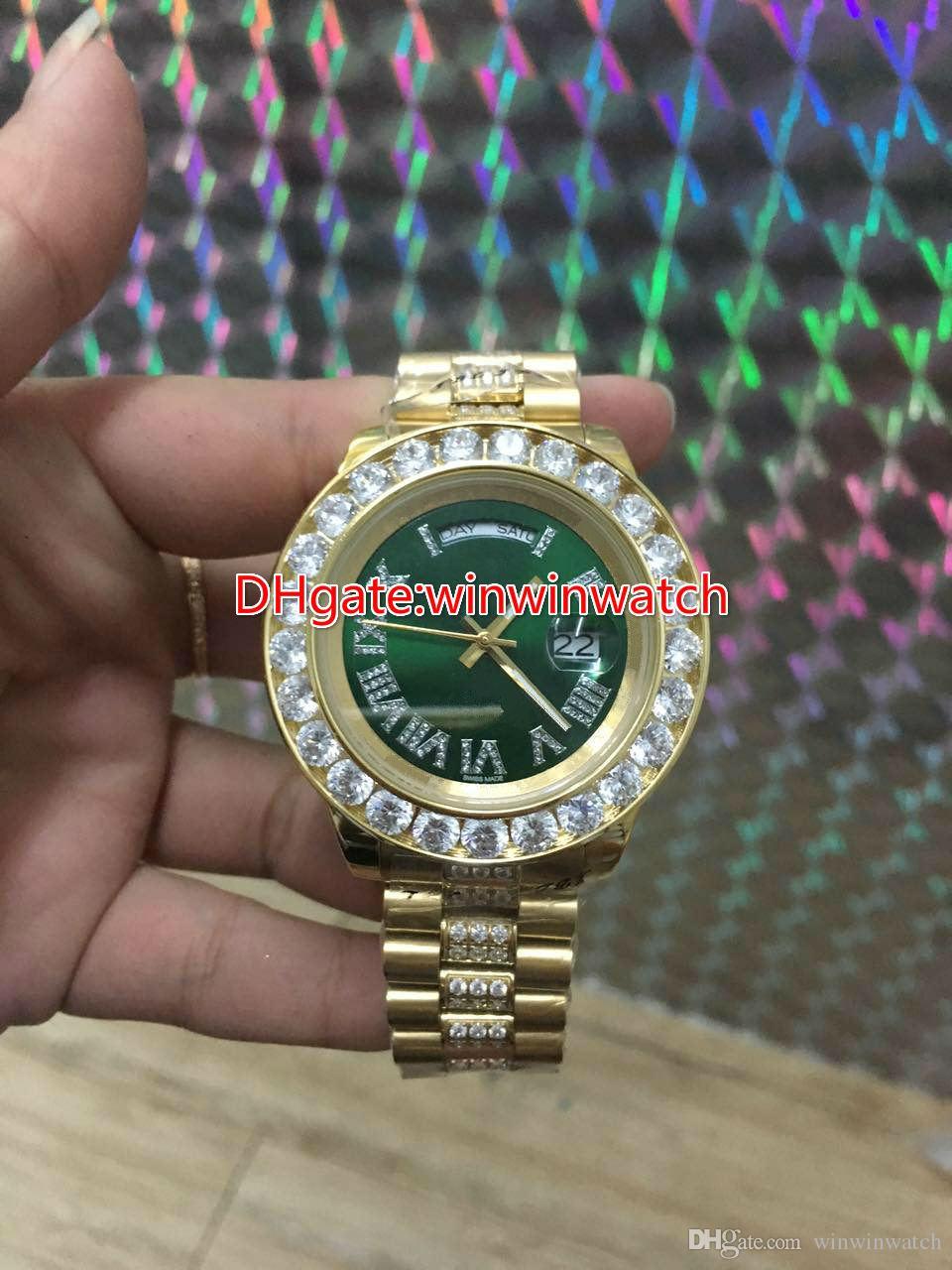 Big Diamond automatique montre pour hommes marque de haute qualité en acier inoxydable coquille d'or Multi cadran couleur 43MM modes montres diamant