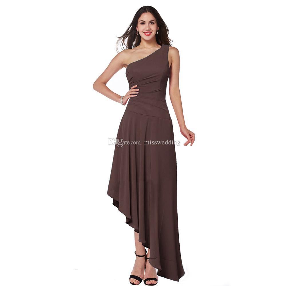 Großhandel Links Lang Rechts Kurz Spezielles Design Damen Brautjungfer  Kleid Eine Schulter Braunes Chiffon Kleid Neue Kollektion Von Misswedding,