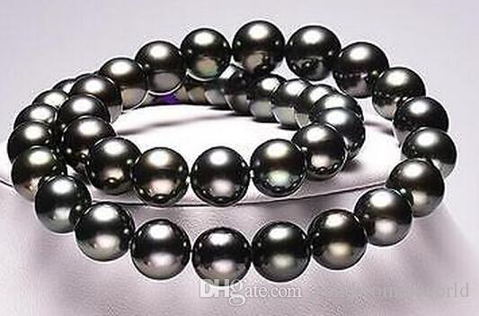 """Trasporto libero veloce vero perla reale gioielli 18 """"11-12mm naturale perle di mare nero nero collana 18KGP"""