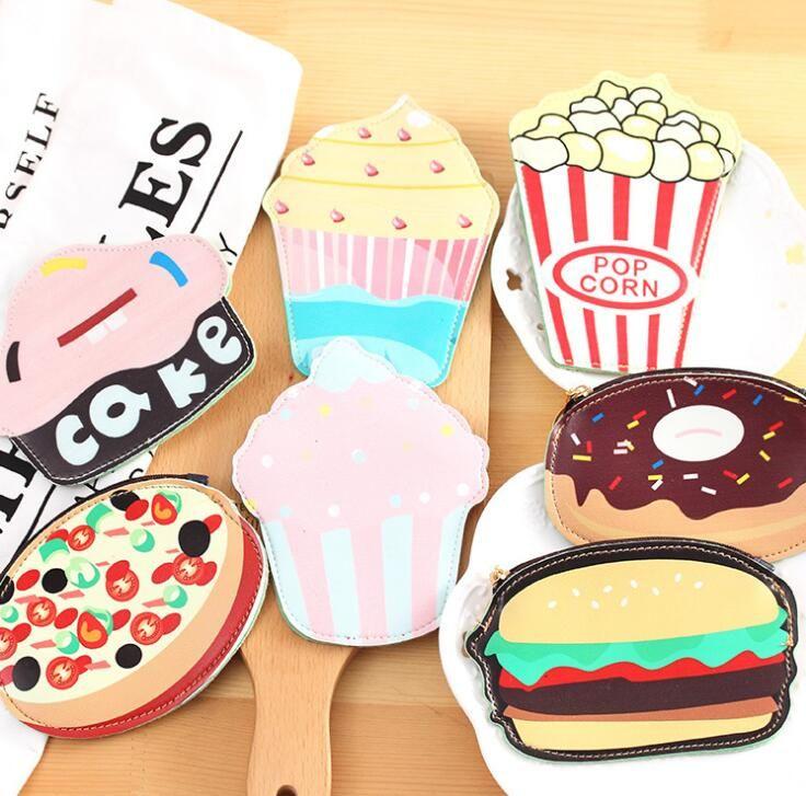 Creative Cute Cartoon Coin Purse Key Chain For Girls Leather Icecream Cake Popcorn Kids Zipper Change Wallet Card Holder