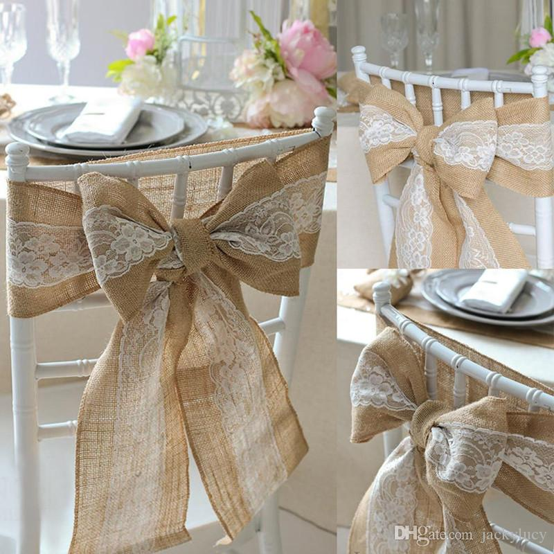 Prime New 240 X 15Cm Lace Bowknot Burlap Chair Sashes Natural Hessian Jute Linen Rustic Chair Cover Tie For Wedding Party Centerpiece Monkey Birthday Party Pabps2019 Chair Design Images Pabps2019Com