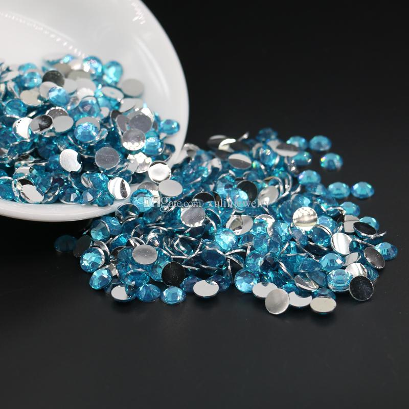 All Size Non Hotfix Aquamrine Resin Flatback Rhinestones, Flat Back Beads, Nail Art Rhinestones 3mm,4mm,5mm,6mm