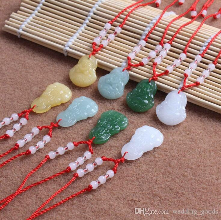Good A++ Hot Pendant Jade Buddha Necklace Glass Ornament Red Rope Ornament WFN587 (with chain) mix order 20 pieces a lot