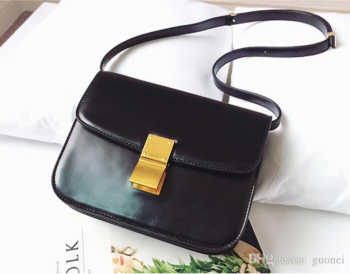 Nuevo solapa de bolsos de diseño pequeño para mujer Box de la marca Bolsa de división Bolsos Damas Cuero de vaca Femenino Mensajero Clásico TWSBQ