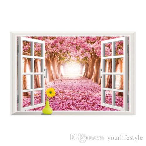 3d الإبداعية الجدار ملصق أزهار الكرز الزهور الجميلة شجرة المشهد جدار غرفة المعيشة نافذة خلفية للماء ديكور المنزل