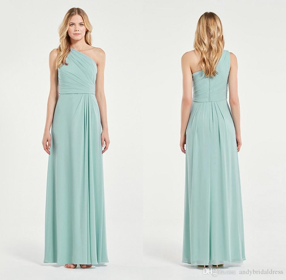 A Line One Shoulder Bridesmaid Dress Under 100 Chiffon Long ...