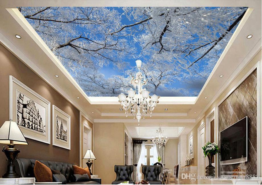3d Ceiling Custom 3d Wall Mural Wallpaper Winter Sky Ice Tree Snowflakes Ceiling Photo Wallpapers For Living Room 3d Ceiling Wallpaper Hd Wallpapers