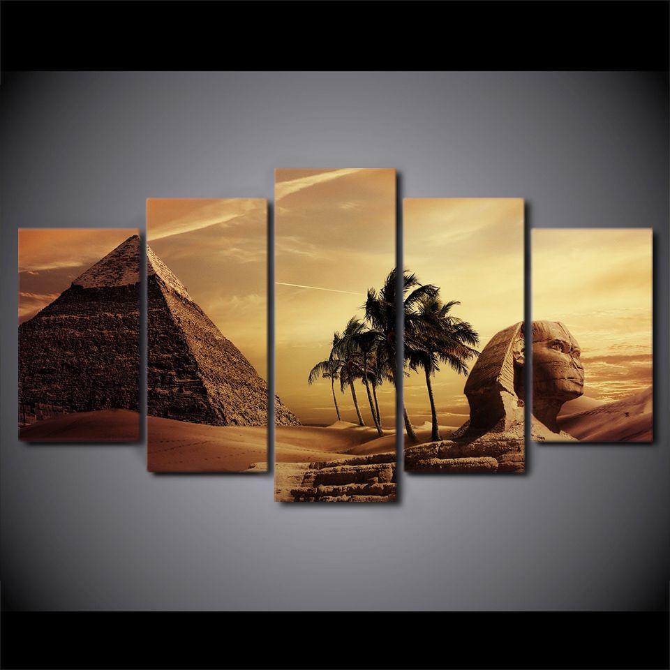 Großhandel 5 Teile / Satz Gerahmte Hd Gedruckt Ägyptischen Pyramiden ...