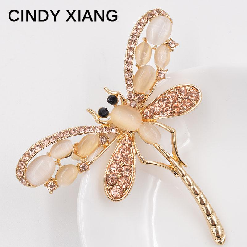 CINDY XIANG Opal and Rhinestone Dragonfly Brooches for Women Cute Insect Brooch Pin Dress Accessories 2017 Summer Design Gift