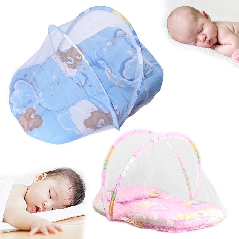 Wholesale- Summer Baby Anti Mosquito Insect Crib Netting With Portable Folding Canopy Cushion+Cute Pillow Mattress Infant Bedding Sets