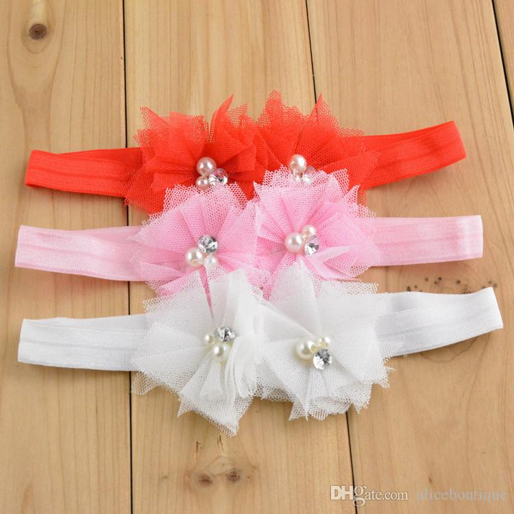 free shipping 18pcs/lot Double Chiffon Lace Flowers elastic Headband with pearl rhinestone For Baby Photography Props Infant Headbands FD78